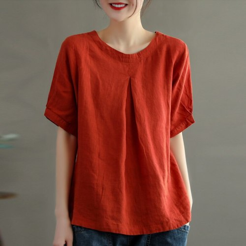 Ladies Linen Retro Shirts And Tops Short Sleeve O-Neck Button Loose Women Summer Blouses 2021 New Solid Color