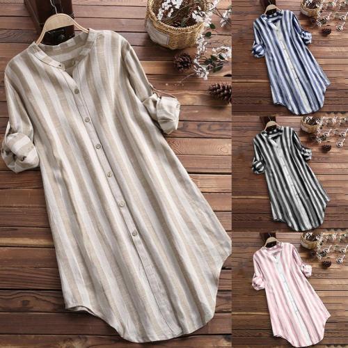 Women's Fashion Short Sleeve Summer Casual Vertical Stripe Loose Collar Western Style Long Sleeve Shirt