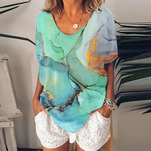 Vintage Shirt Women Summer Print T-shirt Tops O Neck Loose Shirts For Women Casual Short Sleeve Tshirts Female Summer Tops Tee