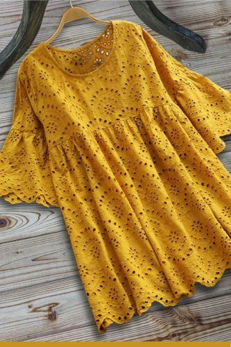 Women'S Dress Summer New Hollow Dress Korean Style Loose Lotus Leaf Sleeve Lace Dresses