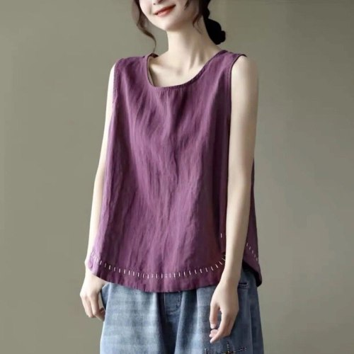 Oversized Solid Cotton Linen Women Vest Tank Tops O-Neck Sleeveless Loose Vintage Casual Female Pulls Outwear Tops