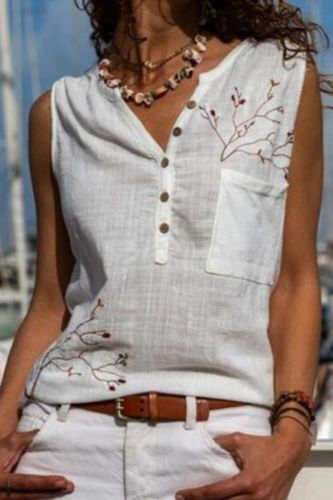 Women'S Fashion Summer Cotton Tops Different Models Round Neck Casual Embroidered Vest Fashion Clothing футболка оверсайз 40*
