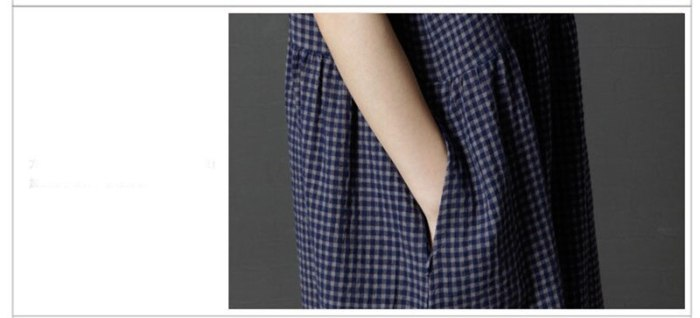 2021 New Korean Loose Large Size Women's Summer lattice V-neck Dress Women short-sleeved Cotton Linen Dress x648