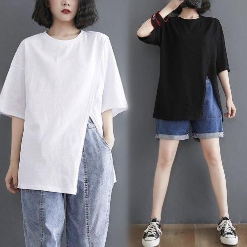 women's blouse women woman shirt Large short sleeve female 2021 summer tops sexy loose literature art THIN irregular split cool