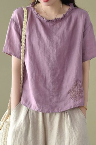 Casual Women Tshirts New Summer 2021 Short Sleeve Ruffles Rund Collar Loose Vintage Tops Embroidery Top Tees Solid Cotton Linen