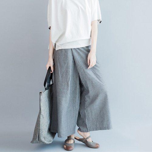 2021 Summer New  Casual Striped Wide Leg Pants Loose Simple Joker Women Patchwork Ankle-length Pants