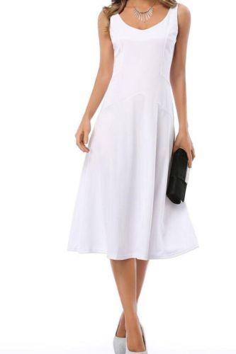 Summer women elegant and simple Slim was vest sleeveless High waist dress big dress Round neck dresse