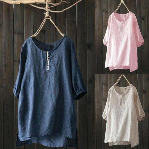 Womens Tops And Blouses Summer Leisure Solid Color Loose Cotton Irregular Hem Short Sleeve Comfort Women