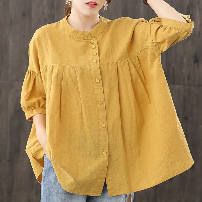 Oversized Women Cotton Linen Casual Shirts New Arrival 2021 Summer Simple Style Vintage Solid Color Loose Female Tops D031