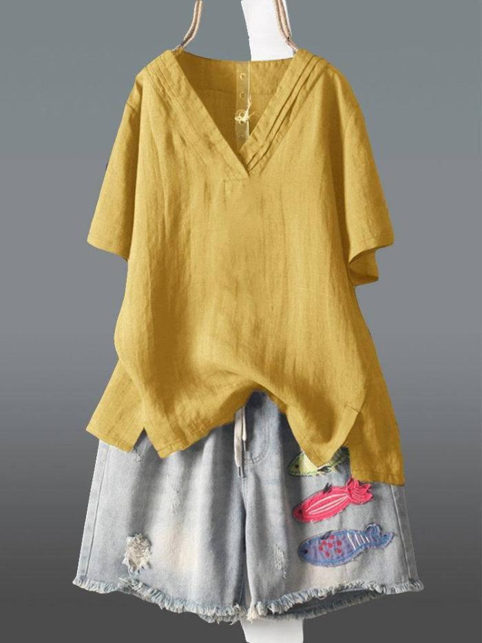 Summer Women Tshirt Plus Size Short Sleeve Casual Loose V-neck Tee Shirt Femme Irregularity Vintage Cotton Linen Tops D9