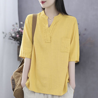 2021 Literary Retro Summer New Style V-Neck Cotton And Linen Loose Casual Short-Sleeved T-Shirt Women'S Top