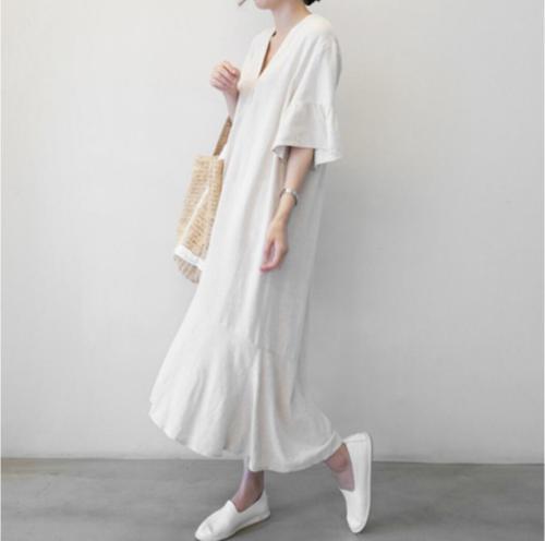 New S-XL Summer Girls Dress Women Cotton Linen Short Sleeve Dresses Female Dress Vintage dress Oversize Boho Robe Femme Vestido