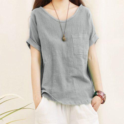 Blouse Women Blusas Mujer De Moda Ladies Short Sleeve Pocket Cotton And Linen Shirts Top Blouse Chemisier Femme Women Blouse