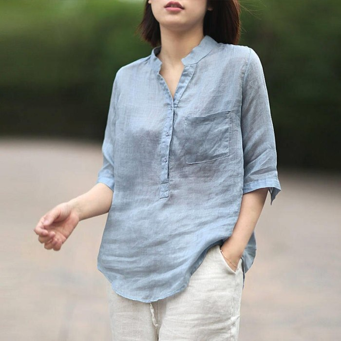 Vintage Cotton And Linen Shirts Female Loose V-Neck Plus Size Mom Blouses Streetwear Summer Shirt Women Tops Blusas Mujer Q3819