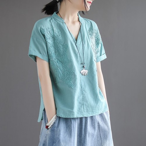 short sleeve T-shirt women 2021 summer loose vintage embroidery V-Neck Cotton and linen tops T-shirts