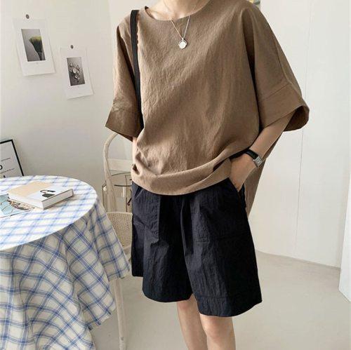 Cotton Linen 2021 New Summer T Shirt Women Elasticity Woman Clothes Oversize Tops New Tshirt Maxi Female Short Sleeve Tee