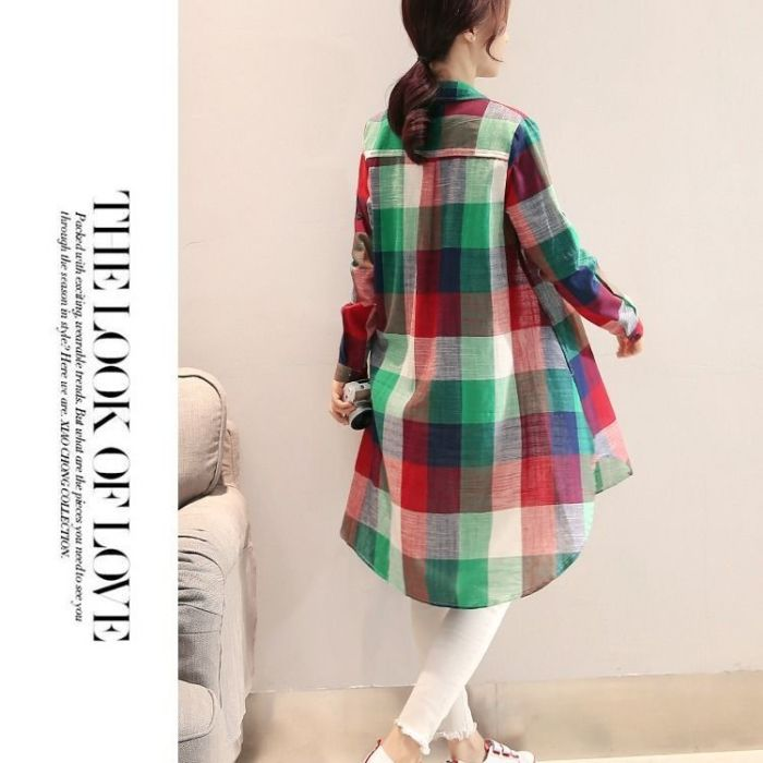 Women 2021 Spring Autumn Plaid Single Breasted Casual Shirts Female Lattice Loose Vintage Blouse Lady Turn Down Collar Top Z421