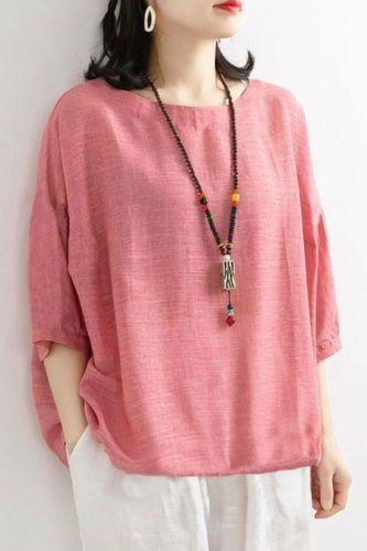 New Summer Arts Style Women Batwing Sleeve O-neck T-shirt Drawstring Design Cotton Loose Tee Shirt Femme Tops Big Size M121