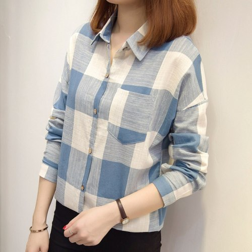 2021 New Womens Tops And Blouses Women Autumn Plaid Shirts Ladies Casual Long Sleeve Blusas Mujer Invierno Women Chemisier Femme