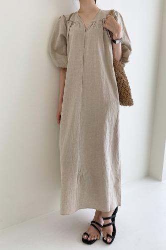 Korea New Cotton And Hemp Dress 2021 Women's Long Length V Neck Solid Color Large Size Dresses 2D6099