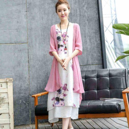 2021 New Arrival Fashion Two Piece Set Spring Summer Dress Soft Cozy Linen Cotton Loose Women Casual Dress Vintage Midi Dress