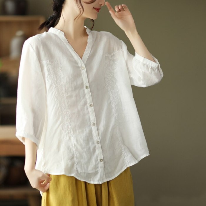 New Stylish Tunic Tops Plus Size Women Half Sleeve Summer Blouses  Solid Cotton Linen Tops Casual Loose Blusas Femme Large Size