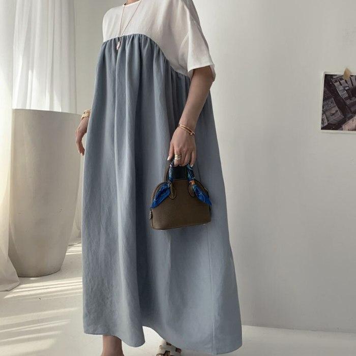 Summer Short Sleeve Solid Patchwork Long Dress Vintage Women's Cotton Linen Dresses Female Oversize Vestidos Femme Retro Dress