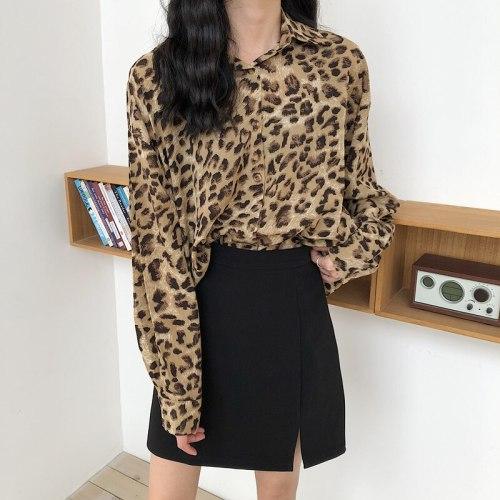 2021 Spring Summer Fashion Women Leopard Shirt Long Sleeve Casual Loose Chiffon Shirts Female Streetwear Blouse Tops Oversize