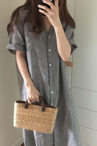 Summer Shirt dress women 2021 Lolita Striped strip Large Size XXXL Loose Beach Maxi Long shirt Dresses Vestido LJ26