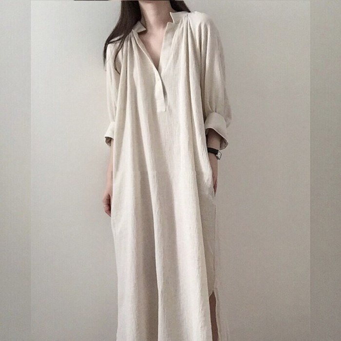 Spring Summer 2021 New Cotton and Linen Oversize Women Long Dresses Casual Loose Fashionable Vintage Female Shirts Dress