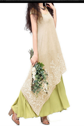 Plus Size Women Dress Vintage Casual Loose Elegant Dress Floral Embroidery  Two Layers Long Dress Green Vestidos 2021