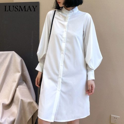 White Shirt Dress Women Fashion 2021 Autumn Long Lantern Sleeve Collar Midi Dresses Streetwear Casual Dress Womens Clothings