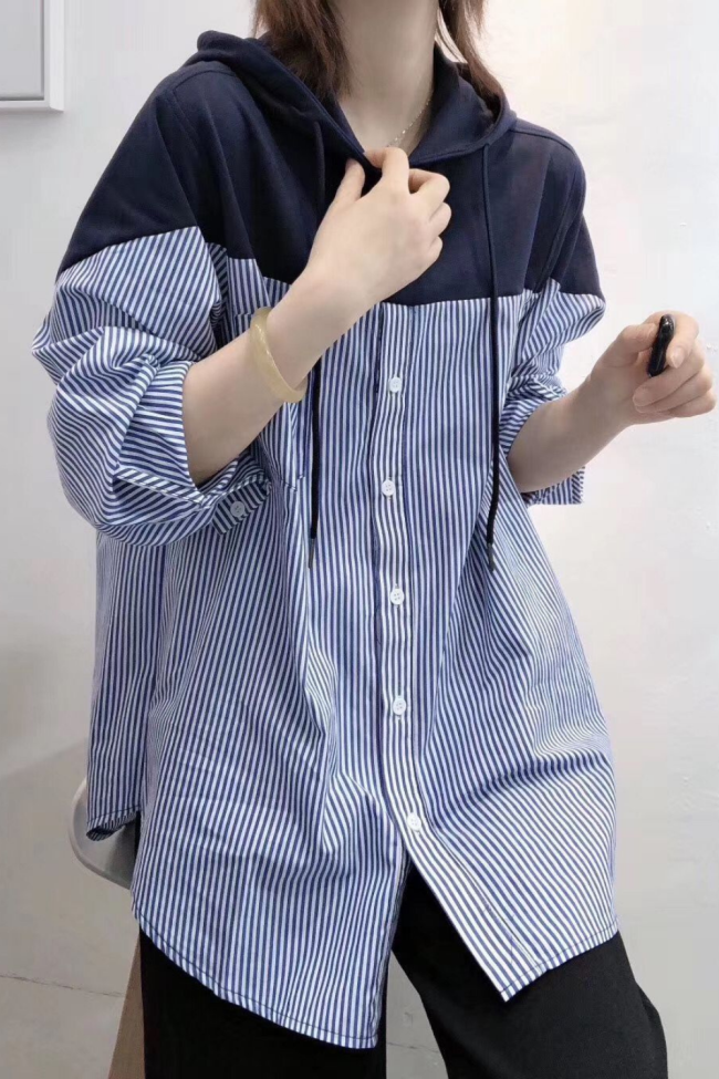 Hooded sweater women fashion ins loose Korean autumn long sleeve top thin coat striped shirt student shirt 1010