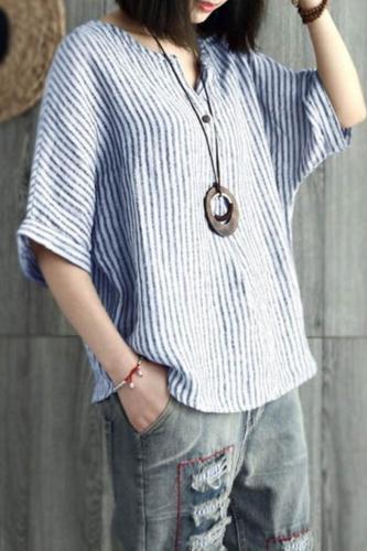 New 2021 Women's Bat Sleeve Striped Cotton Summer Casual Top T-shirt Women Clothing