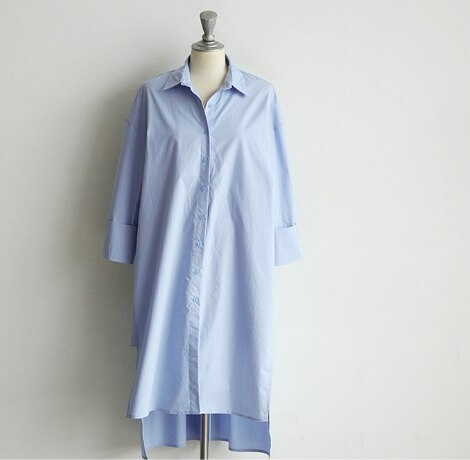 S-2XL New Blue Long Sleeve Long Shirt Dress Autumn White cotton Dresses Collar Buttons Loose Dresses Robe Femme Vestido