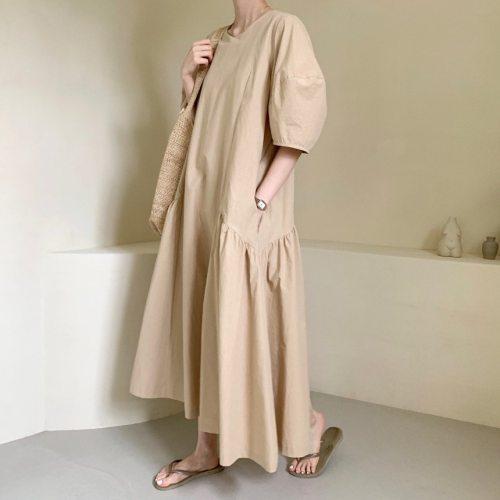 2021 New Maxi Cotton Summer Dress Evening Long Vintage Dresses Oversize Short Sleeve Beach Women Dress Robe Vestido Prom pure