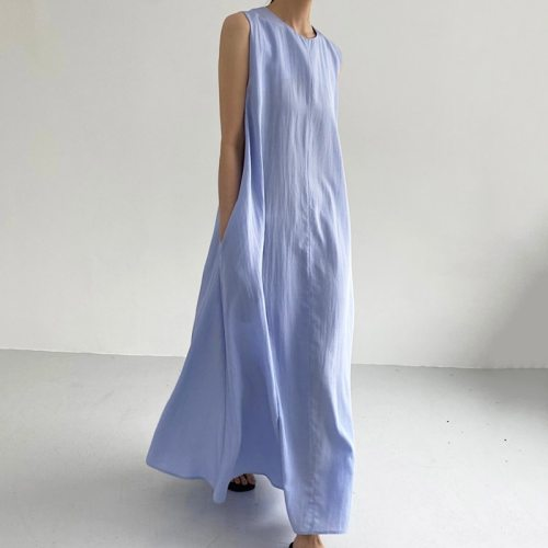 Korean Chic Fashion Simple Round Neck Solid Color Stitching Double Pocket Loose Sling Robe Dress Women Summer 2021 16W1390
