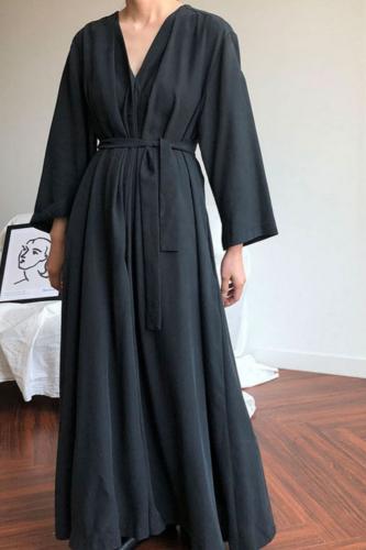 Autumn Elegant V Neck Long Sleeve Maxi Dress Women Buttons Down Long Shirt Vestido Casual Cotton Linen Sundress Femme 5XL