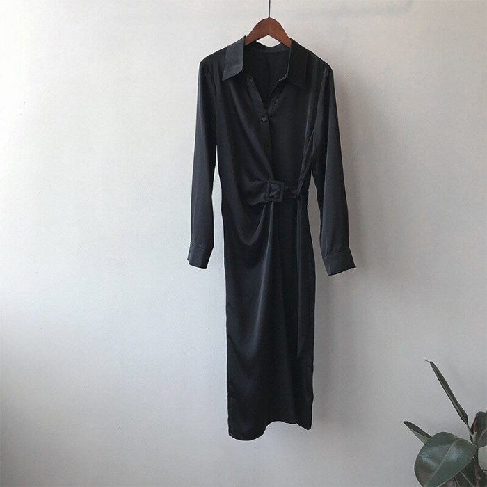 Women Chic Button-up Satin Maxi Shirt Dress Fashion with Wrap Belt Sexy Slim Long Sleeve OL Ladies Elegant Party Dresses for Wom