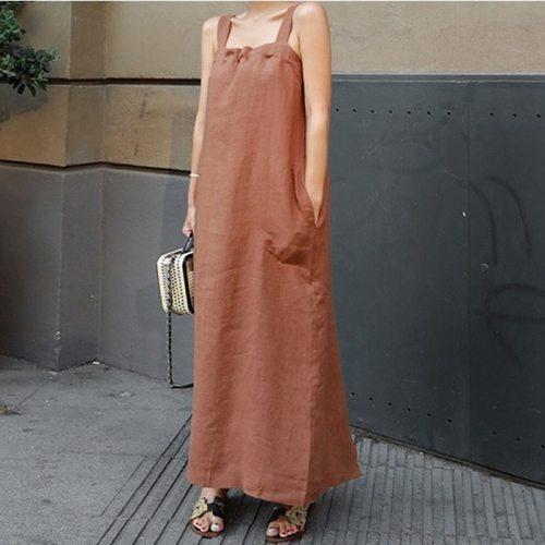 2021 Summer New Korean Sexy Halter Sling Dress Loose Plus Size Split Split Casual All-match Women Long Dress Tide Free Shipping