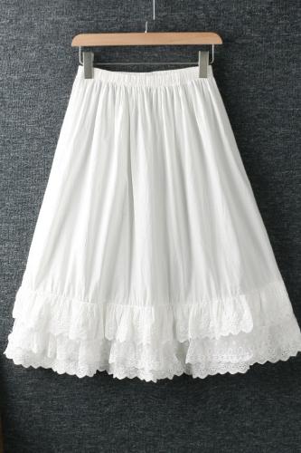 2021 New Spring Summer Women Skirt Literary Fresh Elastic Waist Lace Embroidery Loose Cotton Skirt