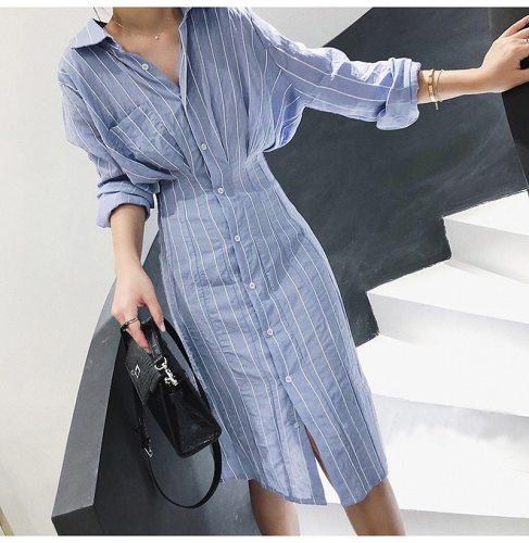 Spaghetti Strap Dress Robe Chemise Femme Blue Office Vestidos Verano 2021 Spring Korean Women Clothes Ladies Dresses Ropa Mujer