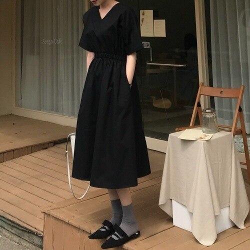 French V-neck short sleeve dress for women's summer 2021 new Korean version with thin waist