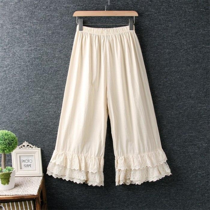 2021 New Spring Summer Women Pants Japan Style Mori Girl Lace Wide Leg Pants Cotton Loose Casual Women