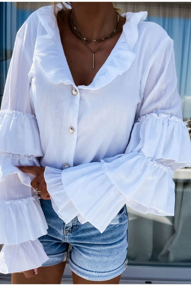 White Butterfly Sleeve Women's Shirt Ruffled Single Breasted Office Lady Temperament Tops For Ladies 2021 Autumn Female Clothing