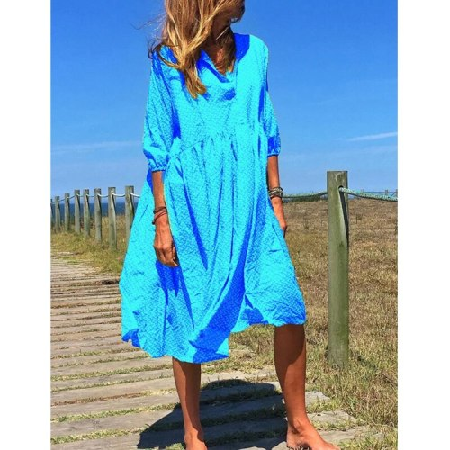 Women Elegant Button V-neck Floral Print Long Dress Summer Loose Beach Dresses Casual Plus Size Dress Vestido