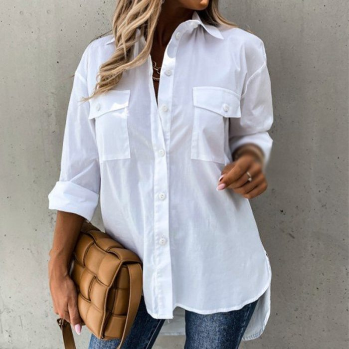 Solid Irregular Loose Long Sleeve Shirts For Women White Turn-down Pocket Collar Female Leisure Shirts 2021 New Autumn Winter