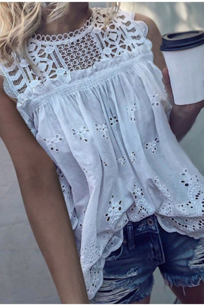 White Lace Hollow Out Cotton Women's Blouses Tunic Sleeveless O-Neck Sexy Female Tops 2021 Summer Fashion Ladies Blouse