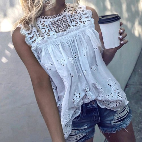 Women Sexy Sleeveless Hollow Out Blouse Summer Loose Lace Patchwork Cotton Blouse Shirt Casual O-Neck Solid White Blusa Tops 5XL