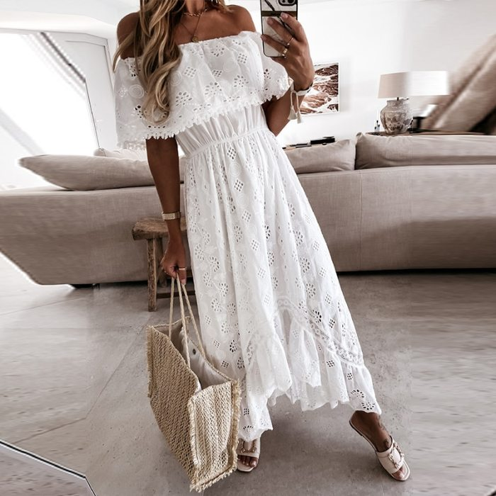2021 Spring Floral Printed Long Party Dress Sexy Off Shoulder Ruffle Maxi Dresses Summer Short Sleeve Loose A-Line Dress Vestido